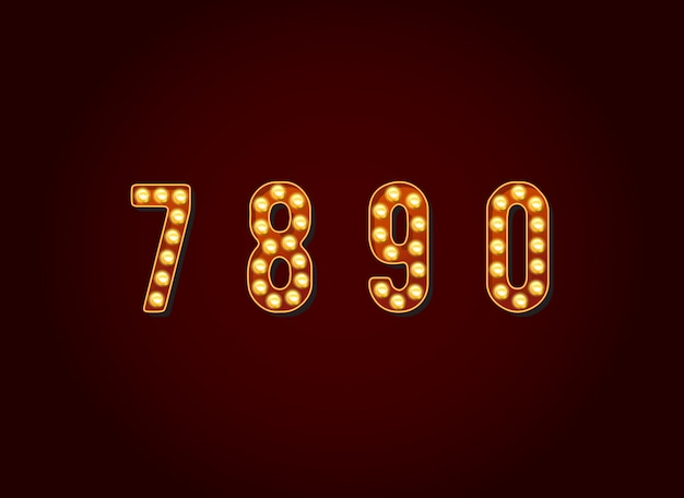 Carattere di numeri delle cifre della lampadina dei segni di casino o broadway nell'insieme