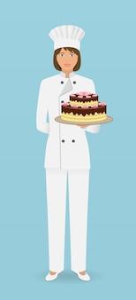 Carattere di pasticcere donna in piedi in uniforme con una torta splendida. il cuoco di pasticceria tiene una bella torta su una mano.