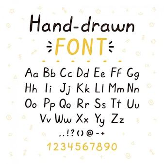 Carattere di pennello stile disegnato a mano abc set di lettere grandi e piccole. progettazione dell'illustrazione della fonte tipografica di stile di scarabocchio di vettore. concetto di lettere disegnate a mano isolato su bianco