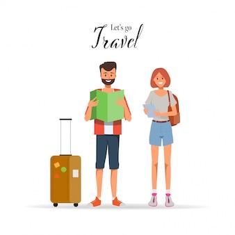 Carattere di persone che viaggiano in vacanza estiva con borsa da viaggio.