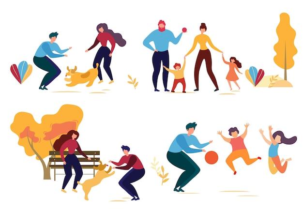 Carattere di persone del fumetto nell'illustrazione del parco