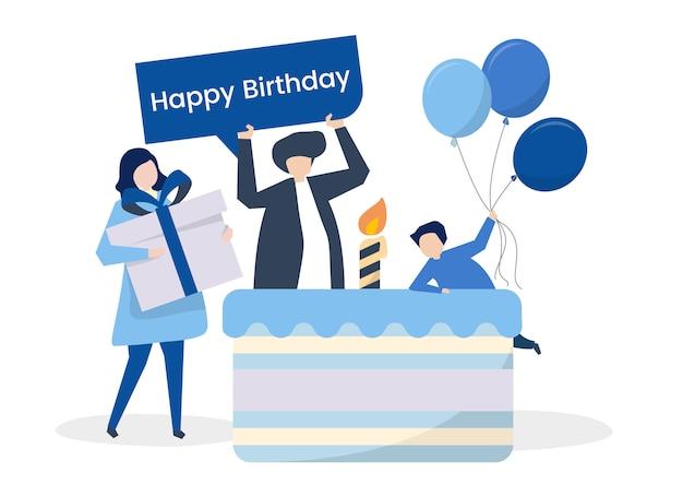 Carattere di persone e un'illustrazione a tema festa di compleanno