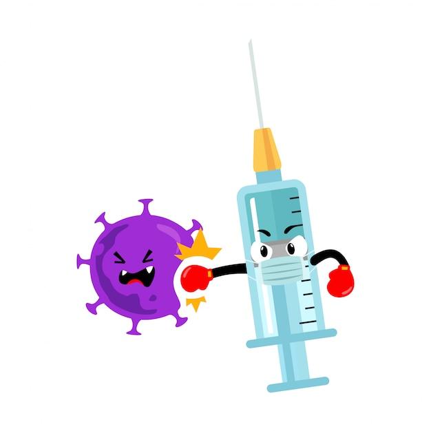 Carattere di siringhe per vaccino che perfora coronavirus
