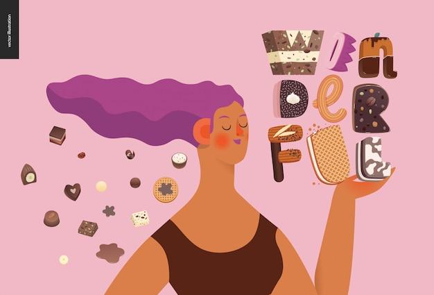 Carattere di tentazione del dessert con una ragazza