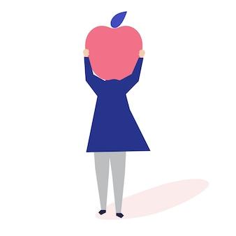 Carattere di una donna con un'illustrazione di testa di mela