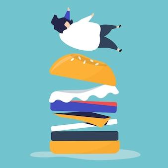 Carattere di una persona che cade su un hamburger gigante