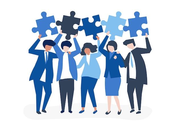 Carattere di uomini d'affari in possesso di pezzi del puzzle