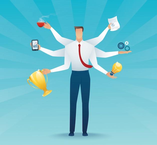 Carattere di uomini d'affari multitasking duro lavoro