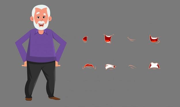 Carattere di uomo anziano con diverse emozioni o set di espressioni.