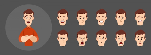 Carattere di uomo bello con differenti set di espressioni facciali