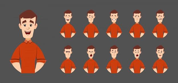Carattere di uomo bello con varie emozioni ed espressioni facciali
