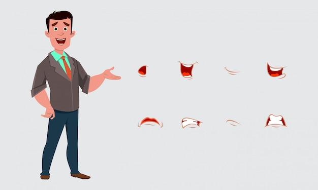 Carattere di uomo d'affari con varie espressioni o emozioni.