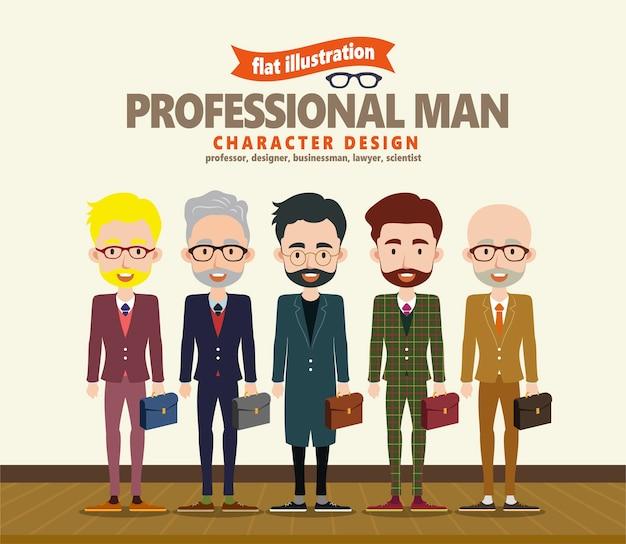 Carattere di uomo professionale in, cinque diverse occupazioni in abito formale