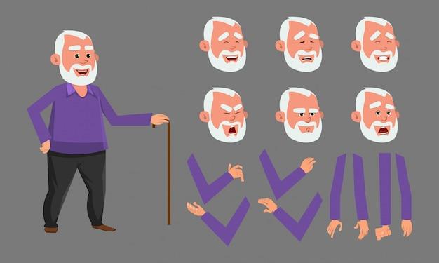 Carattere di vecchio con varie emozioni facciali. personaggio per animazioni personalizzate.