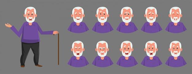 Carattere di vecchio con varie emozioni facciali.