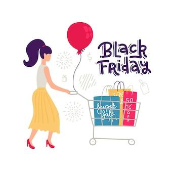 Carattere di vendita femalr colorato su sfondo bianco. donne in gonna in stile e righe con carrello e borse. grande sconto, citazione scritta venerdì nero. illustrazione.