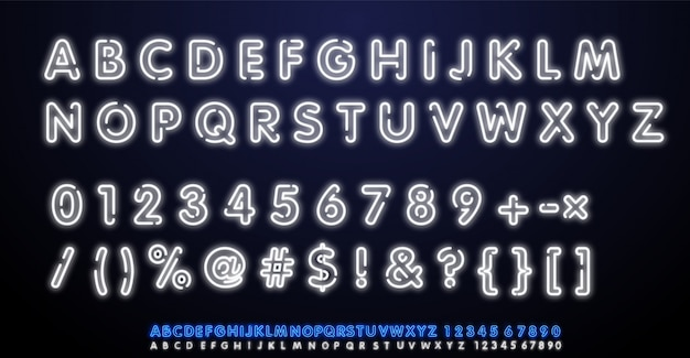 Carattere di vettore bianco alfabeto luce al neon. digita lettere, numeri e segni di punteggiatura. lettere al neon