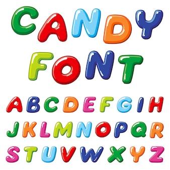 Carattere di vettore dei bambini della caramella del fumetto. alfabeto divertente arcobaleno