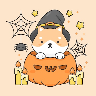 Carattere di vettore del cane sveglio di shiba inu in una zucca con il costume di halloween della candela e del ragno
