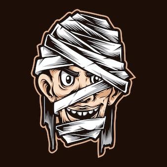 Carattere di vettore del fumetto testa di mummia