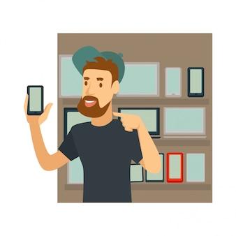 Carattere di vettore dell'uomo di blogger o del vlogger per il blog di tecnologia dello smart phone o il video vlog