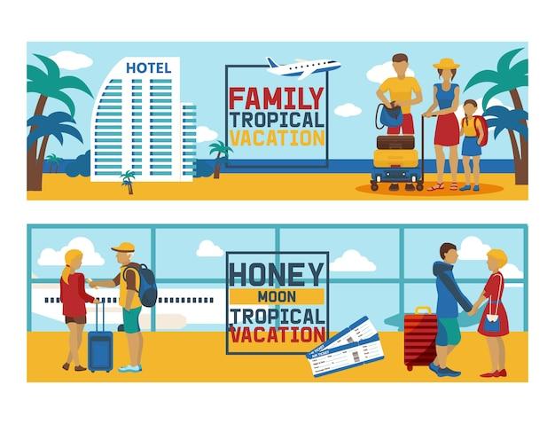 Carattere di viaggio della donna dell'uomo del viaggiatore della gente di viaggio di vacanza sul fondo dell'hotel di giro della spiaggia del mare di stile di vita di viaggio della famiglia del contesto dell'illustrazione di feste