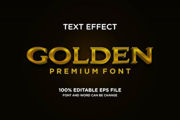 Carattere di visualizzazione del carattere tipografico effetto testo di lusso premium dorato