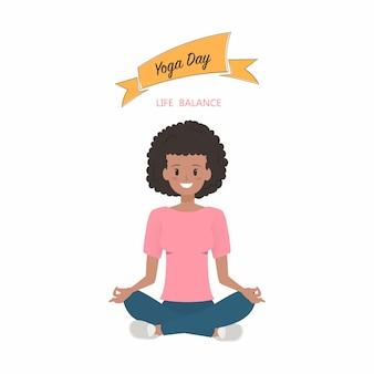 Carattere di yoga delle donne africane.
