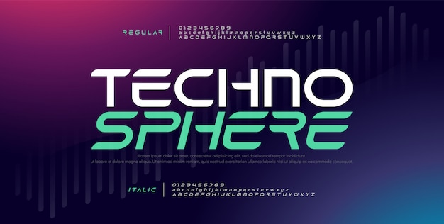 Carattere digitale elettronico moderno alfabeto tecnologia