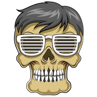 Carattere divertente della testa del cranio con i vetri dell'illustrazione
