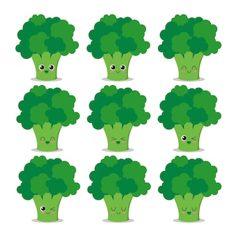 Carattere divertente e felice set di broccoli
