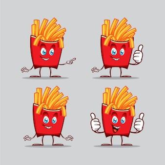 Carattere divertente patatine fritte in diverse pose