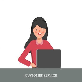 Carattere donna in call center o servizio clienti.