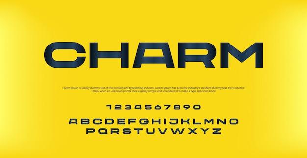 Carattere e numero di alfabeto moderno elegante. caratteri tipografici in stile urbano