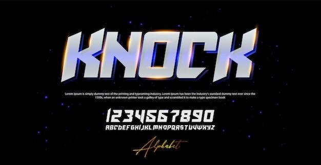 Carattere e numero moderni di alfabeto corsivo di sport. caratteri tipografici in stile urbano