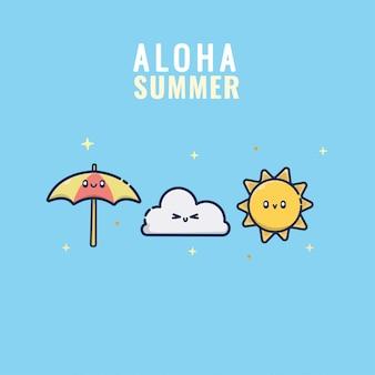 Carattere estivo kawaii di nuvole ombrelloni e sole