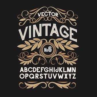 Carattere etichetta vintage. stile etichetta alcolica.