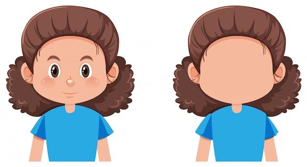 Carattere facciale femminile isolato