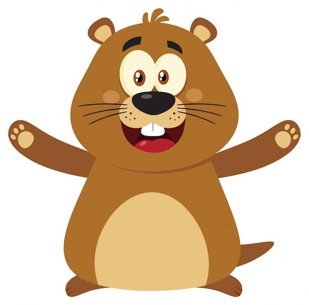 Carattere felice della mascotte del fumetto della marmotta con a braccia aperte