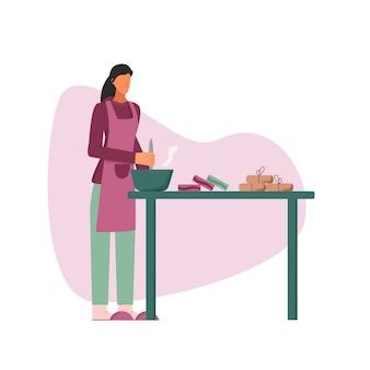 Carattere femminile domestico che produce sapone casalingo sull'illustrazione piana della tavola