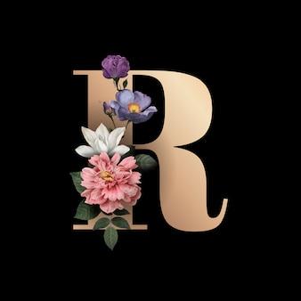 Carattere floreale lettera r