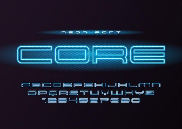 Carattere futuristico al neon d'ardore core, carattere tipografico, alfabeto