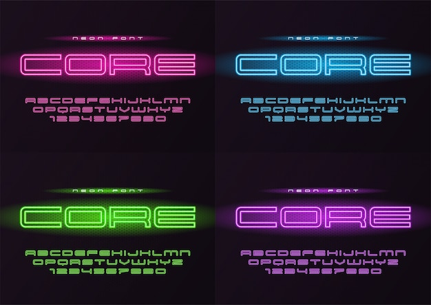 Carattere futuristico al neon incandescente core, carattere tipografico, alfabeto, le