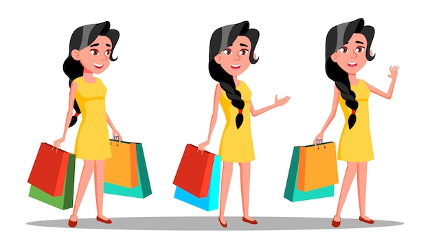 Carattere giovane donna shopaholic con borsa