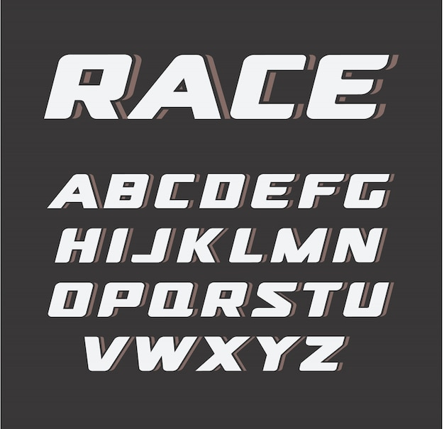 Carattere grassetto corsivo, set di lettere di gara,