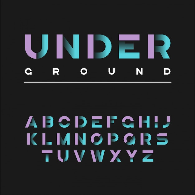 Carattere grassetto decorativo sotterraneo. lettere dell'alfabeto,