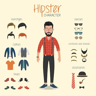 Carattere hipster con elementi hipster