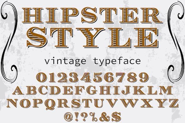 Carattere hipster etichetta design artigianale stile hipster