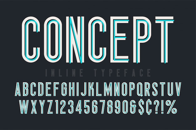 Carattere in linea condensato, carattere tipografico, alfabeto. composizione originale