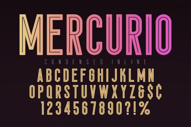 Carattere in linea mercurio, carattere tipografico, alfabeto
